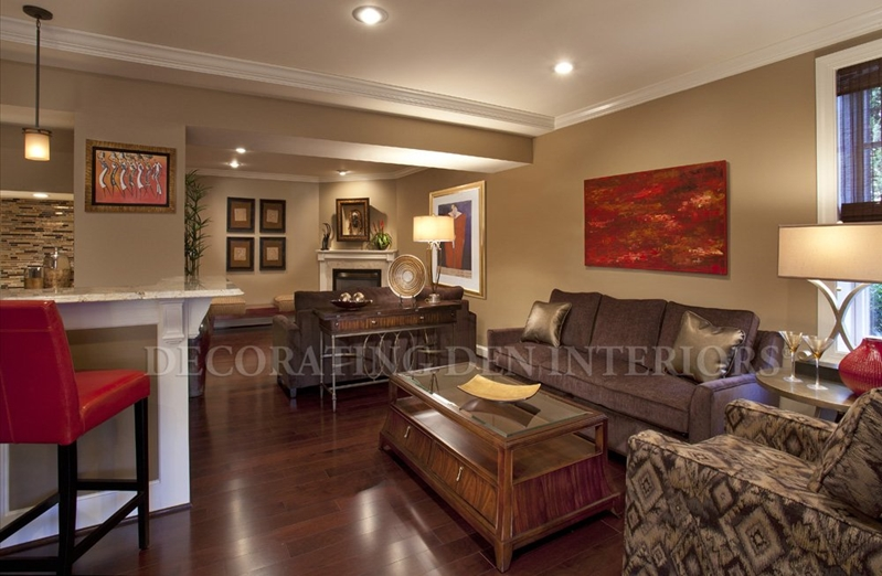 Turn your basement into a fabulous home entertainment center with your Decorating Den Interiors personal decorator.