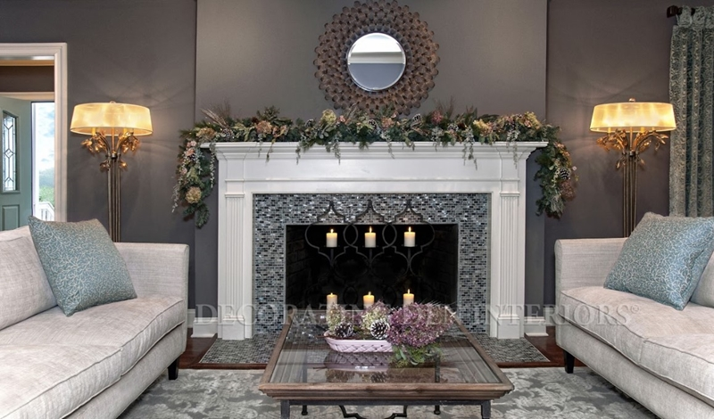 Decorate the mantel and other focal points for the holiday season.