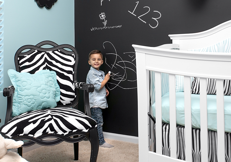 Paint a chalkboard wall to make a functional and stylish statement.
